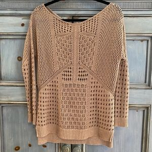 Veronica Beard beige crochet sweater size S
